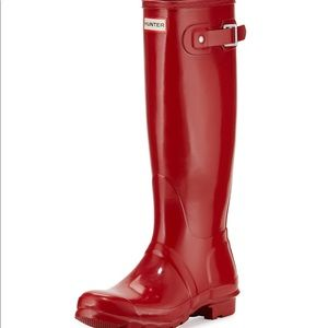Hunter Red Gloss Tall Boots size 7F